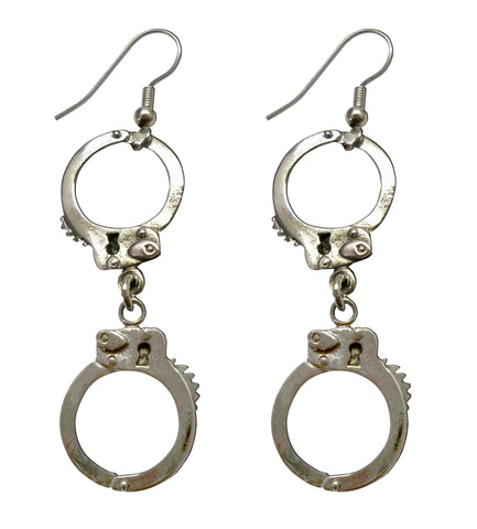 Double Handcuff Dangle Earrings In Silver Pewter #076L