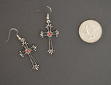 Gothic Victorian Cross with Red Austrian Crystals Pewter Earrings #1003