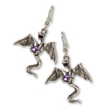 Mystical Dragon Pewter Earrings Medieval Renaissance Jewelry #1004