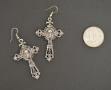 Gothic Skull on Filigree Cross Silver Pewter Earrings #1005