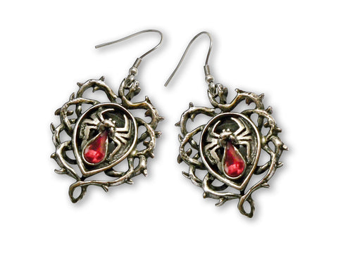 Gothic Spider with Red Stone Body In Thorns Dangle Earrings #1008