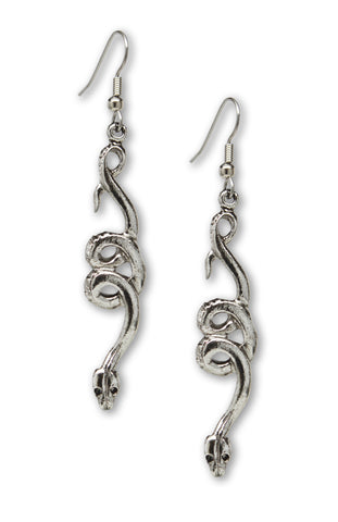 Coiled Snakes Serpents Silver Pewter Dangle Earrings #1009