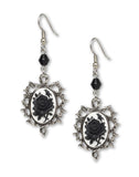 Gothic Black Rose Cameo Dangle Earrings In Thorns with Black Bead #1011BW