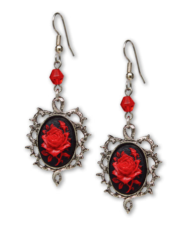 Gothic Red Rose Cameo Earrings Surrounded by Thorns with Red Bead #1011