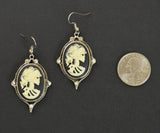 Gothic Lolita Cameo Ivory on Black Earrings with Five Austrian Crystals #1012