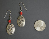 Gothic Lolita Skull Cameo Earrings Silver Pewter with Red Beads #1013