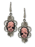 Gothic Lolita Skull Cameo Dangle Earrings Pink on Black #1014P