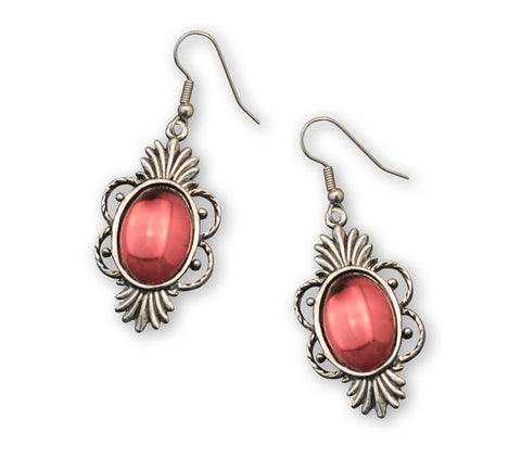 Gothic Blood Red Cabochon Earrings in Silver Pewter Frame #1014R