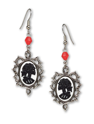 Gothic Lolita Skull Cameo Black on White Wrapped in Thorns Dangle Earrings #1015BW
