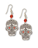 Sugar Skull with Red Beads and Red Crystal Stones Pewter Earrings #1023RBD