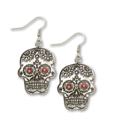 Sugar Skull Pewter Earrings with Red Austrian Crystal Stones #1023R