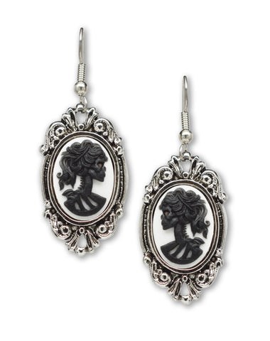 Gothic Lolita Skull Cameo Black on White Small Pewter Earrings #1024BW