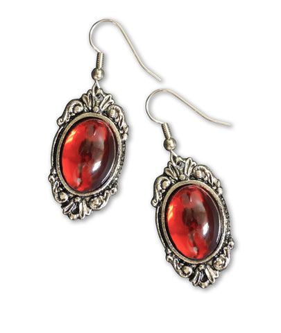 Blood Red Cabochon Set in Silver Frame Dangle Earrings #1024R