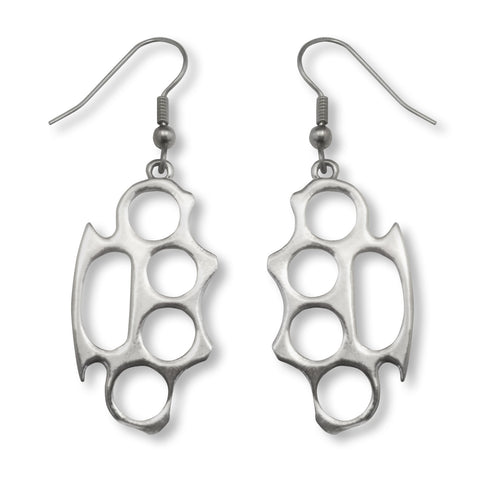 Brass Knuckles Polished Silver Finish Pewter Earrings #1026