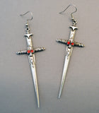 Gothic Skull on Sword Medieval Renaissance Silver Earrings #1028