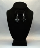 Inverted Black Cross Hand Painted Enamel on Silver Pewter Earrings #1030