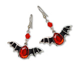 Black Bat Wings with Blood Red Stone Pewter Dangle Earrings #1039