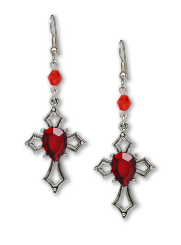 Gothic Cross with Red Stone Medieval Renaissance Dangle Earrings #1040