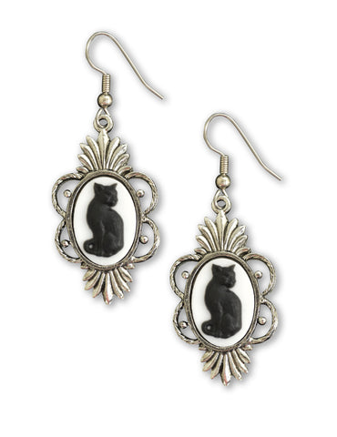 Black Cat Cameo in Silver Pewter Frame Dangle Earrings #1041