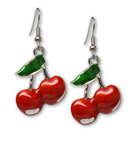 Retro Red Cherries Classic Pewter Earrings #1043