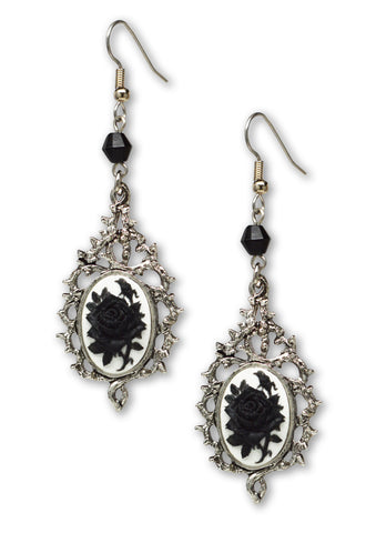 Gothic Black Rose Cameo In Thorns Dangle Earrings #1045BW