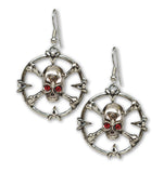 Gothic Skull and Crossbones with Red Crystal Eyes Dangle Earrings #1046
