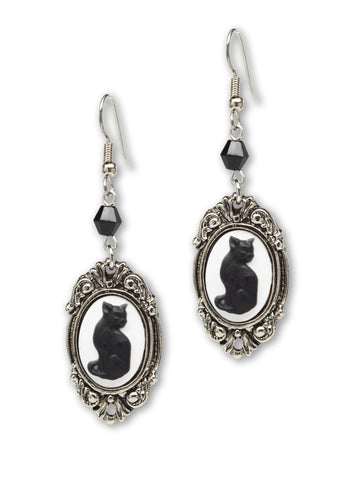 Black Cat Cameo Dangle Earrings with Black Bead #1047