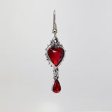 Gothic Romance Red Heart Crystal Dangle Earrings in Thorns #1048
