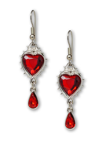 Valentine Red Heart Crystal Dangle Earrings in Thorns #1048
