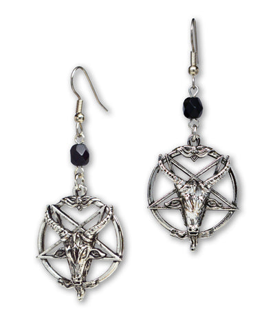 Baphomet Satanic Goat Head Inverted Pentagram Silver Finish Dangle Earrings