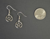 Pentacle Pentagram Silver Dangle Earrings #505