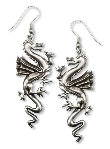 Classic Dragon Earrings In Silver Pewter #529