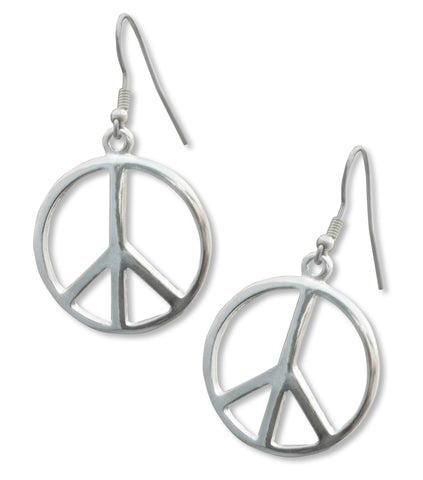 Peace Sign Earrings Polished Silver Pewter in a Medium Size #720