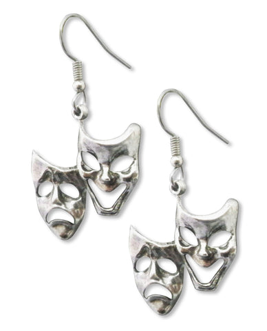 Comedy Tragedy Masks Silver Pewter Earrings #782