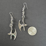 Gothic Vine Wrapped Executioner's Axe Medieval Renaissance Earrings #803