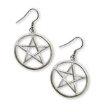 Gothic Pentacle Silver Medieval Renaissance Dangle Earrings #809
