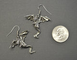 Mystical Dragon Earrings Silver Finish Medieval Renaissance Jewelry #818