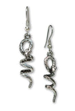 Coiled Snakes Pewter Dangle Earrings #827