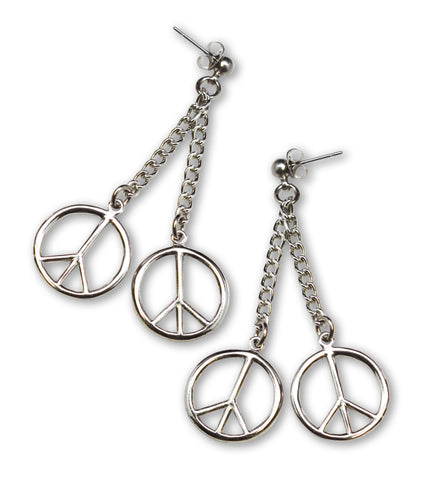 Peace Sign Dangle Earrings on Chains Silver Finish #832