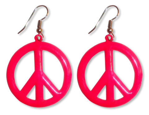 Large Neon Hot Pink Peace Sign Earrings #835-P