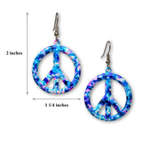 Purple Blue Hippie Tie Dye Peace Sign Enamel on Pewter Dangle Earrings