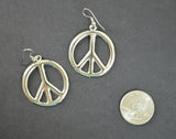 Peace Sign Earrings Polished Polished Silver Finish Pewter #835