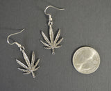 Marijuana Pot Leaf Dangle Earrings Silver Pewter #868