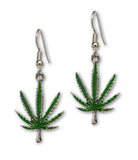 Marijuana Pot Leaf Green Enamel on Silver Pewter Earrings #882