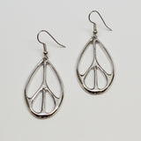 Oval Peace Sign Earrings Silver Pewter #915