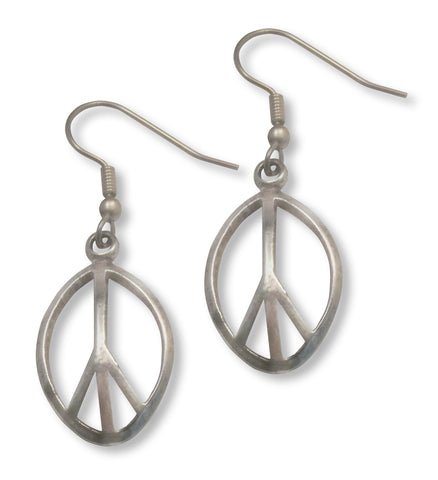 Curved Oval Peace Sign Earrings Polished Silver Pewter #921