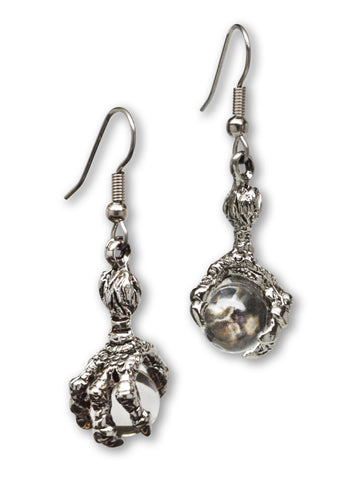Gothic Dragon Claw Earrings with Clear Crystal Ball #932