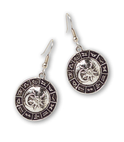 Astrology Disc with Sun and Moon Silver Dangle Earrings #948