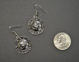 Astrology Wheel with Sun and Moon Silver Dangle Earrings #948