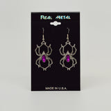 Gothic Spider with Purple Stone Body Silver Pewter Earrings #952P